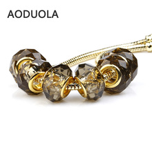 10Pcs Lot Gold-Color Glass Transparent Gray Bead Round Shape DIY Big Hole Beads Murano Charm Fit For Pandora Bracelet