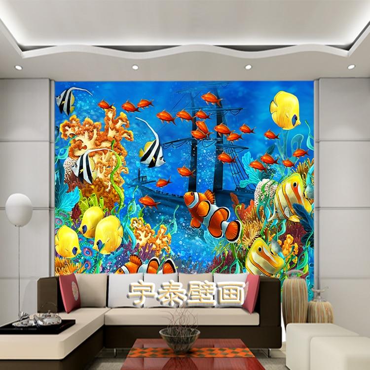 Marine Shoal of Fish Wall Paper Fototapete 3d Duvar Kaplama Mural ...