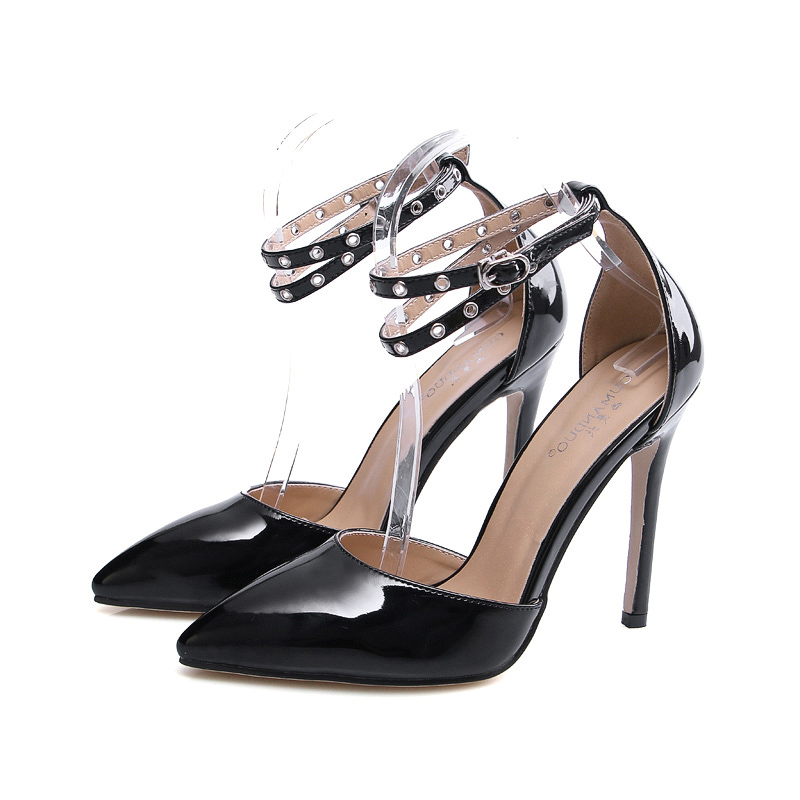 ФОТО 2017 Summer Sexy Girl Pumps Pink Ankle Belt Winding Buckle Strap Thin High Heels Woma Pointed Toe Sandals Woman Wedding Shoes