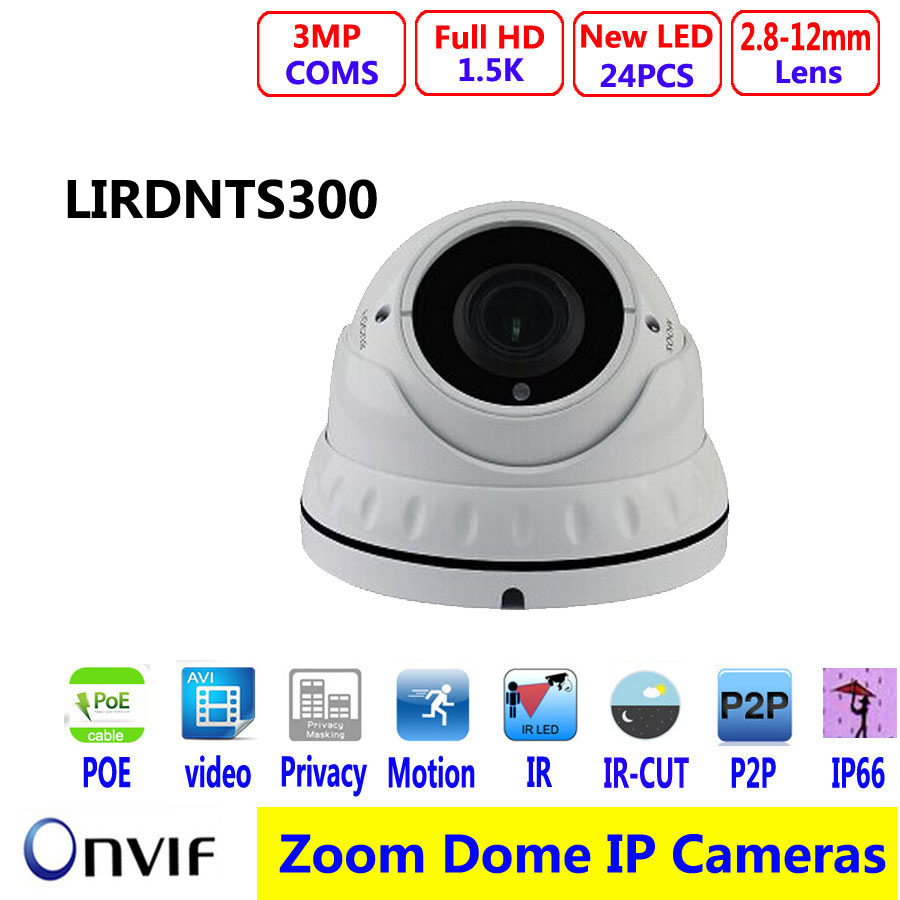 Full HD 3MP POE IP  DOME Camera Varifocal Len  1.5K resolution  H.264 WDR  Vandalproof  support ONVIF P2P 5mp ip bullet camera h 264 h 265 compression 3 6mm fixed hd lens support poe p2p onvif