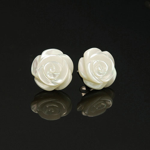 Sterling Silver Mother of Pearl Rose stud EARRING lWtvx
