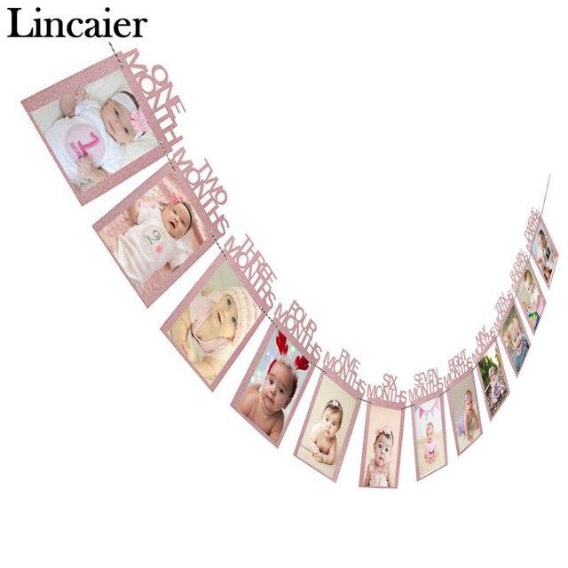 Lincaier наряд для первого дня рождения 12 месяцы фоторамка баннер 1st для маленьких мальчиков украшения для девочек мой 1 Год Вечерние поставки