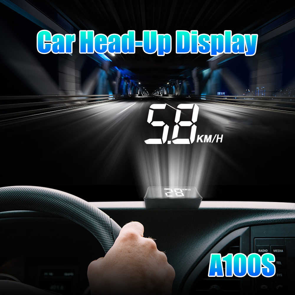 A100S السيارات هود رئيس متابعة العرض OBD2 II EUOBD السرعة الزائدة جهاز عرض لنظام الإنذار الزجاج الأمامي السيارات الإلكترونية الجهد إنذار