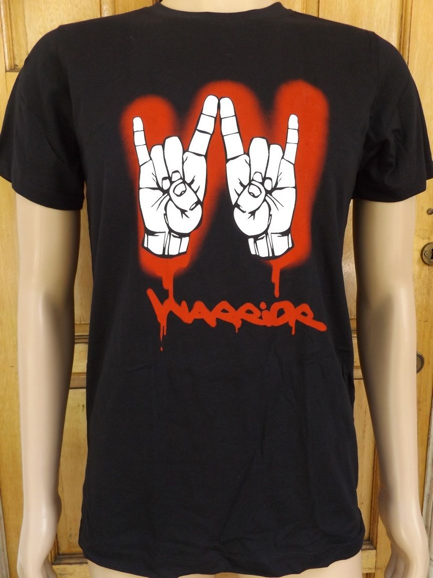 MEN`S NEW WARRIOR BLACK GRAPHIC T-SHIRT SIZES S, M, L, XL CASUAL TOP ROCK METAL Hot Selling 100 % Cotton Tee Shirts top tee