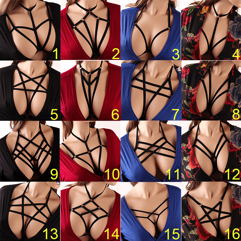 Sexy Ladies Women Body Harness Bra Fetish Chest Bondage Lingerie Erotic Cage Bra Gothic Garter Belt Suspenders(China)
