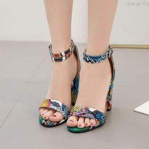 Image 3 - Qianjiaobaihui Colour Snake Sandals Thick Heel High Sandals Woman Ankle Strap Snake Shoes Summer Banquet Party Sandales Female