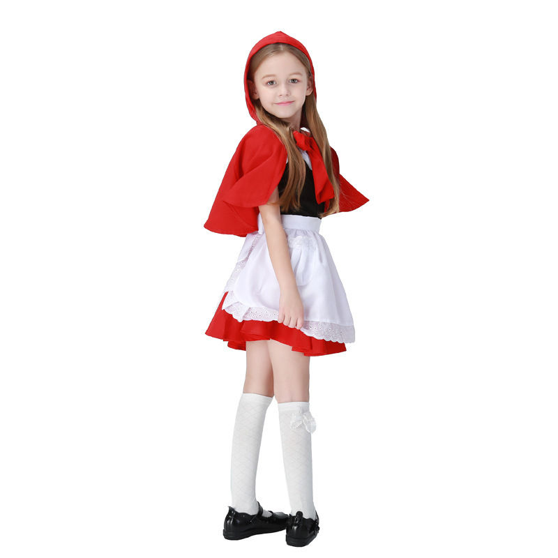 Red Hat Red Riding Hood Kid cute Jumpsuit Cosplay Costume Suit Dress Skirt Apron Cape for girl kid/children Halloween Full Sets