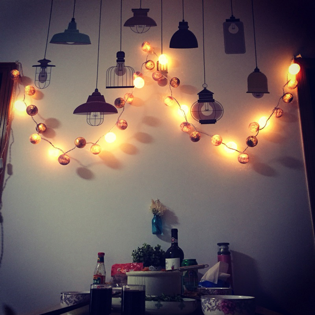 2m 20 LEDs Colored Cotton String Lights Ball Battery Powered LED String Fairy Lights Party Wedding Holiday Decoration Lighting 40 led grinding white ball christmastree string lights decorated colored lamp