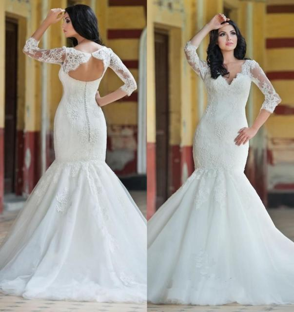 Princess Vintage Lace Mermaid Style Wedding Dresses Tulle Hollow 2016 Plus Size Arabic Gowns Long