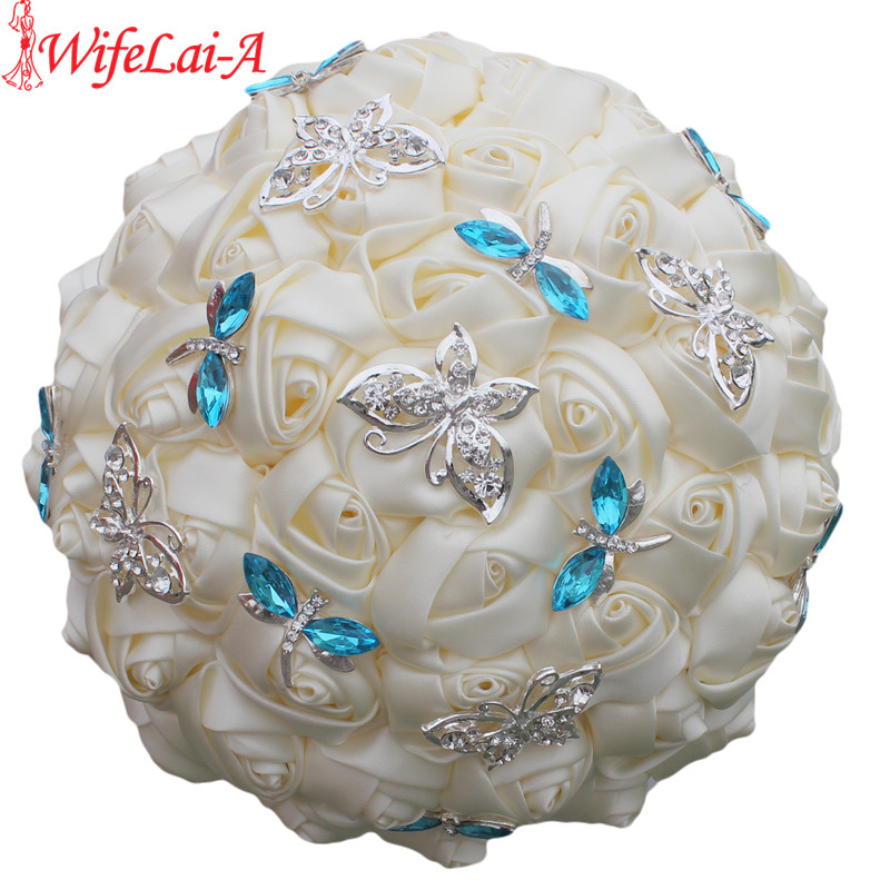Elegant Ivory Cream Rose Butterfly Blue Crystal Diamond Stitch Wedding Bouquet Bridal Mariage Brooch Wedding Flower