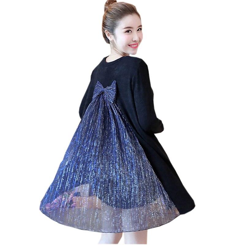 Nouveau dentelle Patckwork robes de grande taille 3XL 4XL lâche décontracté tricoté robe printemps épais chaud Bow mignon a-ligne tricot robes RE0311