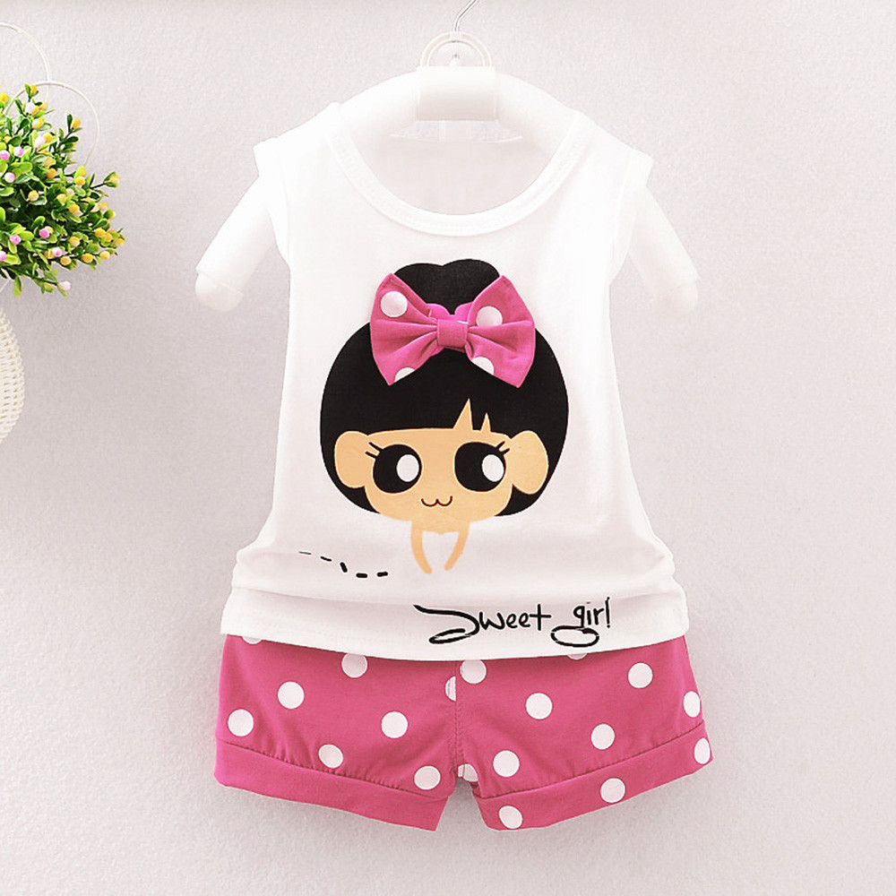 Pants Sets Summer 2T-3T 90 Pink Baby Girls Minnie Mouse T-Shirt Top Clothing
