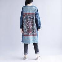 2019 autumn Women Jeans Coats Women Jacket Denim Coat printing Outerwear Tops womens Vintage Jeans Coat Female Chaquetas Mujer