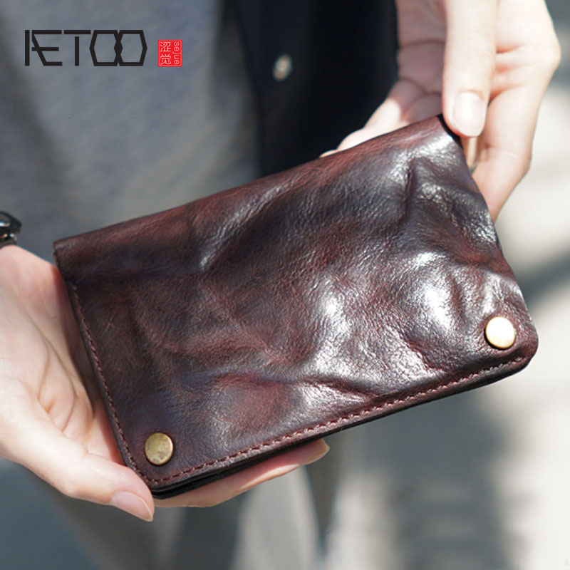 AETOO The original male money lady makes the old leather handmade leather eighty percent off retro