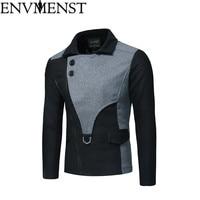 Envmenst 2018 Autumn Men Cotton Windbreaker Overcoat british style Slim fit Hooded trench coat long men 3 Colors