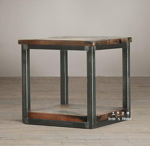 Meubles de style LOFT en bois massif bords vieille forgé table basse ...
