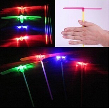 Best Birthday Gift Free Shipping Luminous Dragonfly Flash Bamboo Dragonfly Flying Toy Luminous Flash Department M118