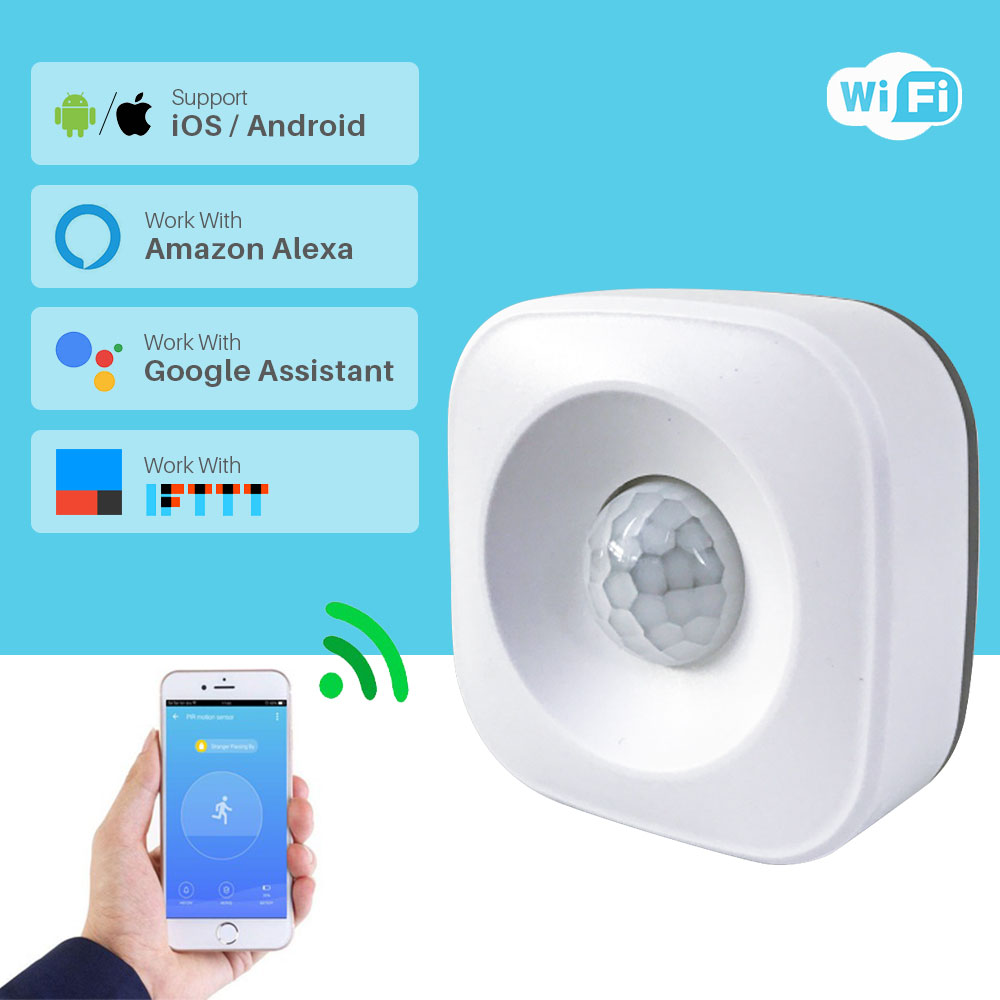 WiFi PIR Motion Sensor Human Body Infrared Security Alarm Detector Compatible Alexa Google Home IFTTT Smart Home Automation