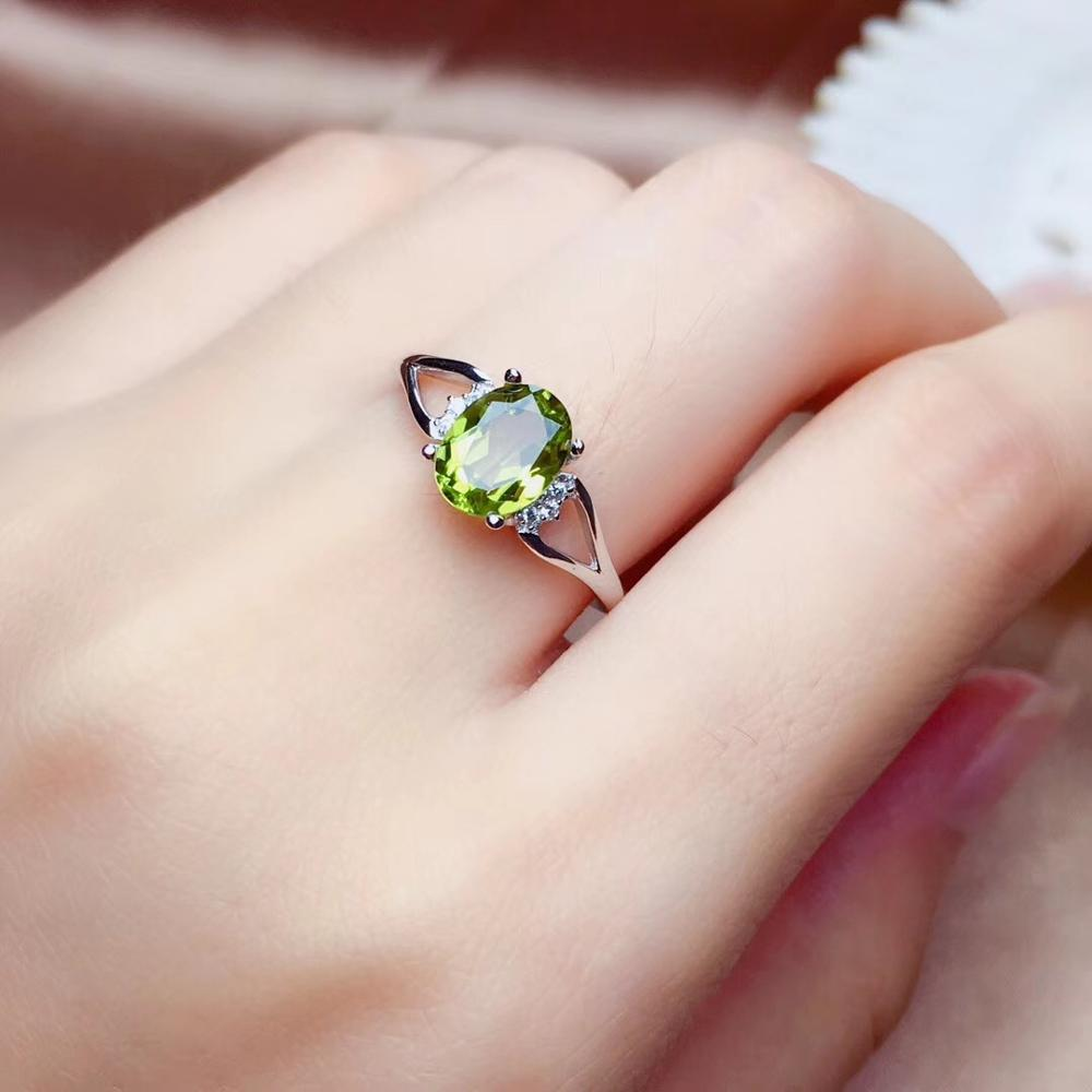 1.5ct Stone  Natural Olivine Water Drop Ring 925 Silver Producer Wholesale Price Concessions  Peridot