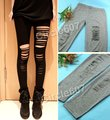 New Black Sexy Stretch Hole Leggings Punk Low Rise Render Pants Thights