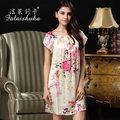 100% silk female silk  sexy nightgown tracksuit summer short-sleeved big yards