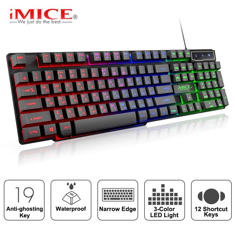 Teclado para juegos con cable, Teclado mecánico con retroiluminación, teclado USB 104, teclado ruso, teclados para juegos de ordenador a prueba de agua