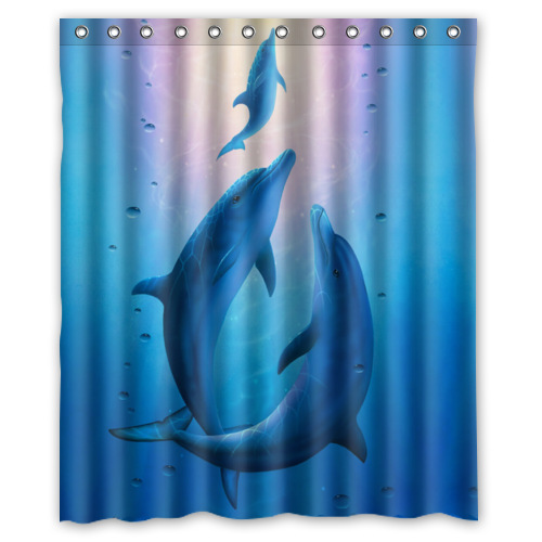 New Arrival Dolphin Shower Curtain With C Shaped Hooks Waterproof Fabric Bath