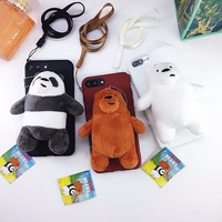 Kawaii Bear Panda Smooth Plush Stuffed Soft Case Cover Doll For Iphone8 X 7 7 Plus