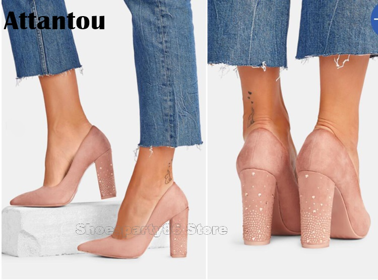 Fashion Pointed Toe Office Lady Crystal Chunky High Heel Dress Shoes Women Suede Leather Block Heeled Concise Pumps Pink Red цены онлайн