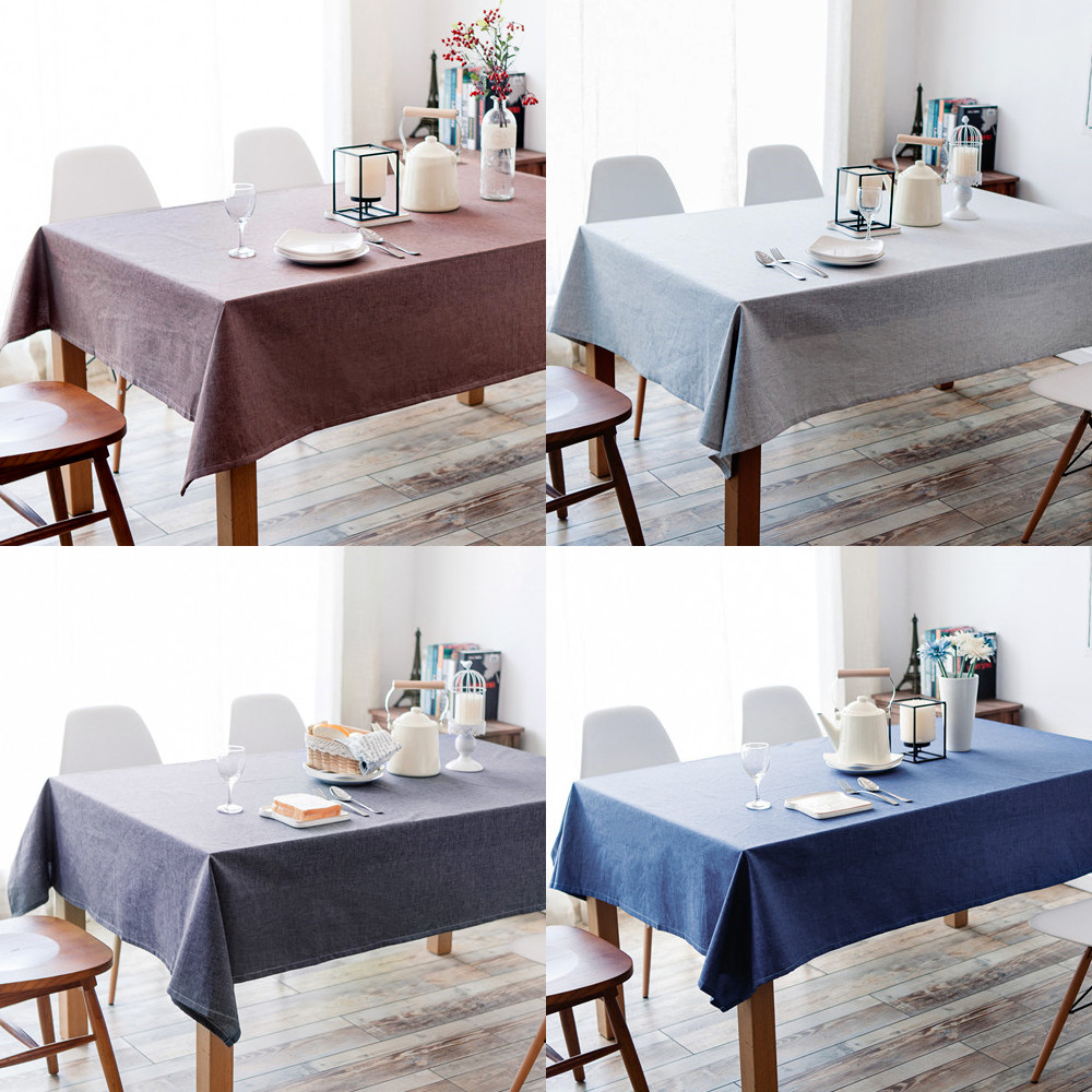 Table Cover Rectangular Tablecloth Elegant Home Decoration Solid Color Kitchen Home Dining Stain-resistant Linens Table Cloth