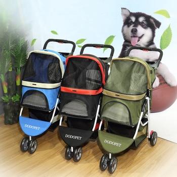 LK679 High-grade Breathable Aluminum Alloy+600D Cloth Pet Stroller Quick-foldable 3 Wheel Dog Cat Seat Bag 15kg Bearing