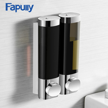 Fapully Liquid Soap Dispenser Double 250ML Black Chrome Wall Mounted Round Bathroom Accessories Lotion Pump Dispensers Bottle