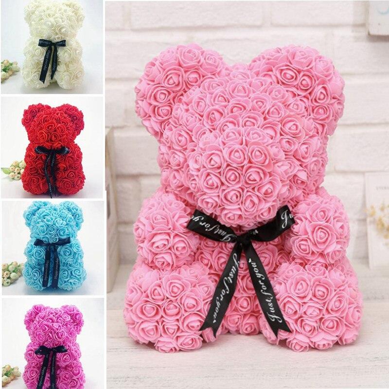 Rose Bear Toys Women Girls Flower Birthday Party Valentine Wedding Romantic Doll Gifts 18styles 2019 Valentines Day Present Home & Garden