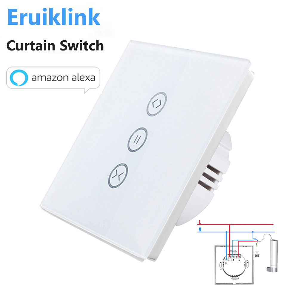 EU/US Type Wifi Control Curtain Switch Touch Glass Panel Remote ON/OFF Electric Curtain, ...
