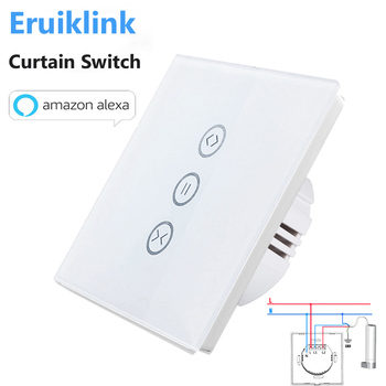 EU/US Type Wifi Control Curtain Switch Touch Glass Panel Remote ON/OFF Electric Curtain,Voice Control by Google home/Alexa