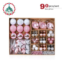 inhoo Pink Christmas Tree Ornaments Christmas Balls Decoration Baubles Plastic Hanging Ball Craft Supplies Xmas Gifts 2019 NEW
