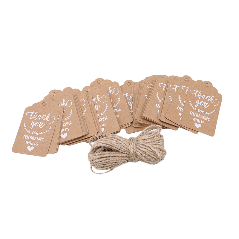Vintage Number White Kraft Paper Hang Tags Wedding Favor Label Gift Cards 24