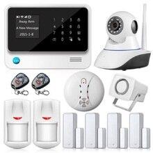 Barato WiFi APP Seguridad en el Hogar Sistemas de Alarma Sistema de Alarma GSM Inalámbrico con Pantalla Táctil de Control G90B Cámara IP Sensor de Humo