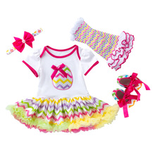 Newborn Baby Girl Clothes Easter Eggs Infant Party Dress Romper With Headband Shoes 4pcs