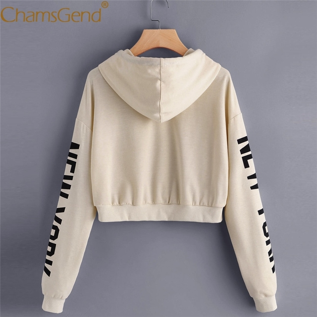 c0d4fcd60 Chamsgend Hoodies Sweatshirts Women Girls Casual NEW YORK Letter Print  Beige Crop Top Pullover Blusas Hoody Shirt 71220