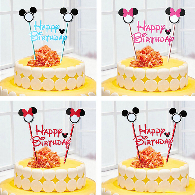 1pcs Mickey Mouse Theme Happy Birthday Flag With Paper Straw Cupcake Cake Topper Accessories Party Supplies
