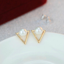 Hot Sale Trendy Nickel Free Earrings Fashion Jewelry 2019 Pearl Earrings For Women Brincos Oorbellen Cute Triangle Stud Earrings(China)