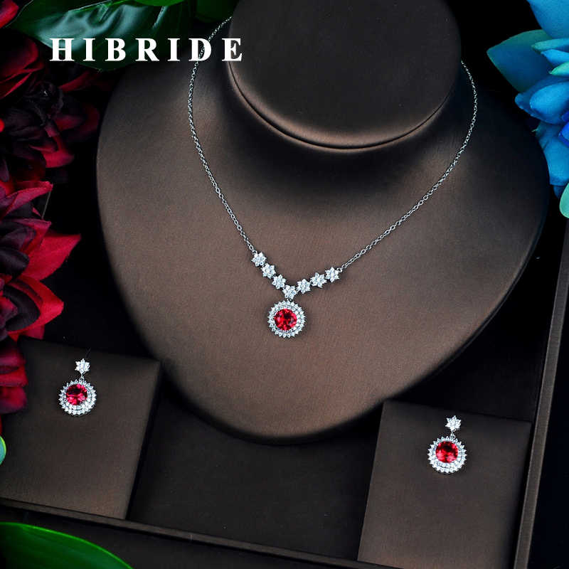 HIBRIDE New Fashion Round Shape Red Cubic Zircon Bridal Jewelry Sets Wedding Accessories Indian Jewelry Wholesale Price N-690