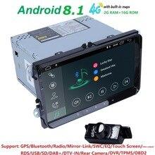 Hizpo 2 Din Автомобильный мультимедийный плеер Android 8,1 gps стерео для Volkswagen/VW POLO/PASSAT/Golf/Skoda/Octavia/Seat/леон радио ips EQ