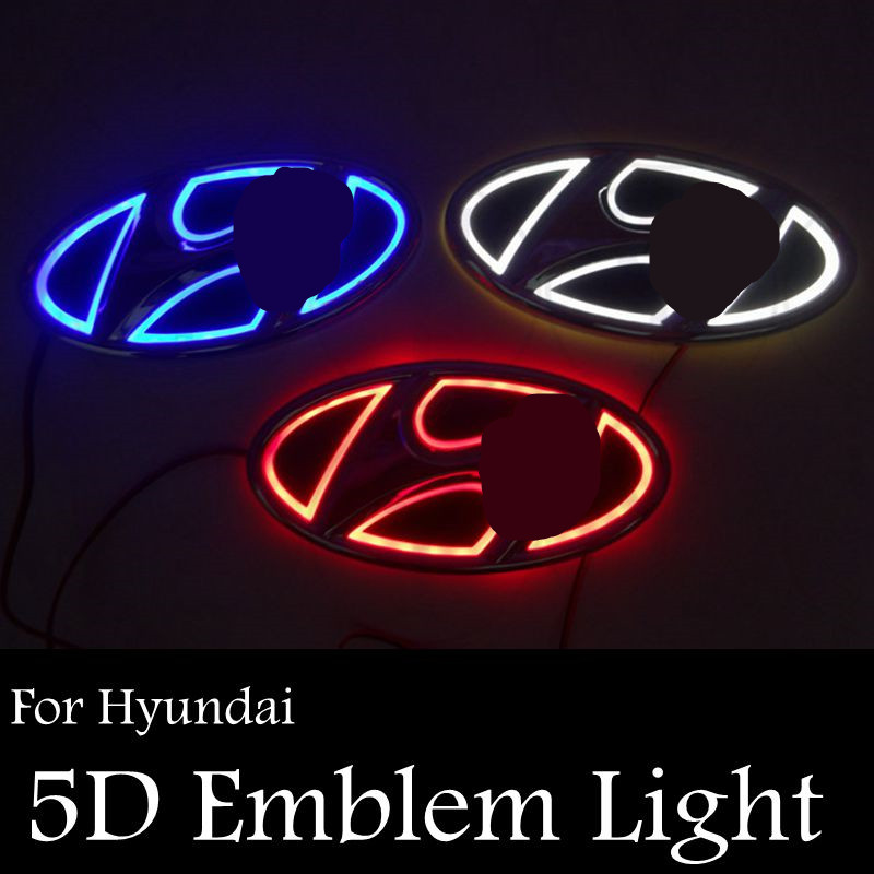 Ossen 5D Car Rear Badge Emblem Lights For Hyundai Santafe Verna Accent Tucson Elantra Genesis coupe Sonata YF IX35 I30