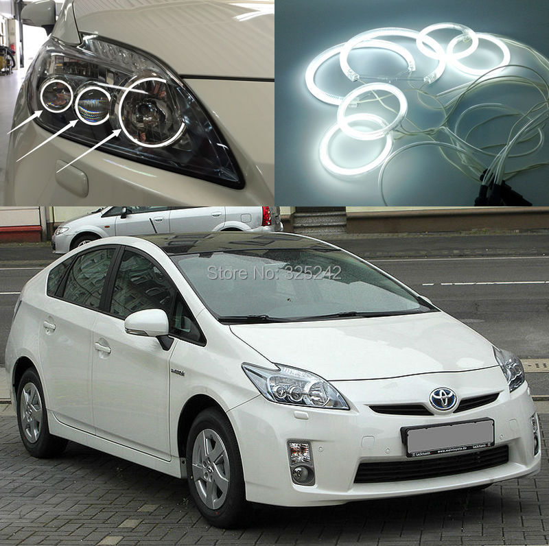 ФОТО For Toyota Prius ZVW30 2009 2010 2011 Excellent 6 pcs rings Angel Eyes Ultrabright illumination CCFL angel eyes kit Halo Ring
