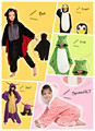 Kids Children's Unisex Kig Animal Penguin Bat Frog Spyro Cosplay Costume Onesie Pajamas Sleepwear Pajamas Party Jumpsuit