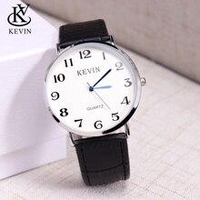 50188e1bc11d KEVIN KV moda hombres reloj relojes masculinos de cuero Simple pulsera de  cuarzo caballeros muchachos regalo