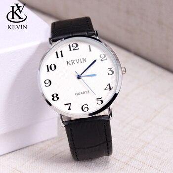 5fad0a22656f KEVIN KV moda hombres reloj relojes masculinos de cuero Simple pulsera de  cuarzo caballeros muchachos regalo Dropshipping
