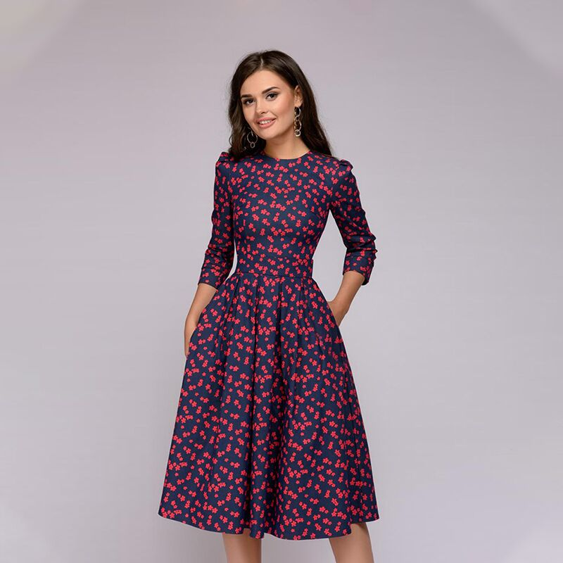 Autumn Printing Dress 2018 Women Elegant A-Line Dress Three Quarter Sleeve Knee-Length O-Neck Office Dress Vestidos